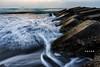 D67_8423 (brook1979) Tags: 宜蘭 永鎮 潮水 龜山島 堤防 海 太平洋 水 水流 日出 海灘 沙 石 雲 taiwan sea pacific ocean island sunrise