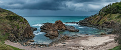 Pacific Storm (Claude Downunder) Tags: portmacquarie nsw australia beach pacificocean pacific panorama pano storm stormyskies stormy ominous clouds cloudy ocean sea water sand rocks hills headland promontory nobbys sky rock