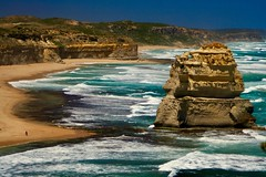 Behind the Apostle (nataliehampel) Tags: nature aus vic victoria australia mountain boulder rock sand yellow white green sky blue walking people twelve 12 apostles powerful strong waves sea cliffs cliff ocean seascape landscape