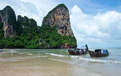 Railay Beach, Thailand (Kirk Stauffer) Tags: kirk stauffer photographer nikon d4 adorable amazing awesome beautiful charming fabulous pretty stunning wonderful outdoors outside water tropical rain monsoon nature beach sand limestone longtail boats