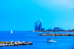 A Port Olimpic (Fnikos) Tags: beach sand shore seashore city sky skyline sea water waterfront bay people boat sailboat landscape seascape building architecture tower tree palmtree outdoor