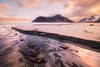 Skagsanden (jonathan le borgne) Tags: light pastel colors yellow orange blue mountain montagne skagsanden lofoten norway norvège sand beach lines sun sunlight sunrise head fire vacation water seascape red white snow clouds sea pink canon canon6d canon1635f28liiusm