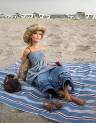 Saga (ArtCat80) Tags: barbie collection collector antiope beach sea sewing sand hat denim summer doll fashion