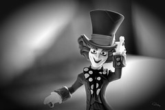 Mad Hatter (Vanessa away on vacay) Tags: 90mm macro 7dwf vanessassweetspot bw bokeh toys madhatter
