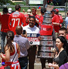 Capitals fan holds sign and gets photo taken with Stanley Cup character. ((3.9 million views)) Tags: weareallcaps snapshot photo mascot costume stanleycup washington capitals 2018 world champions nhl hockey parade celebration rock red dc mall