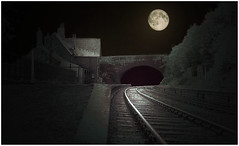 """""""The abandoned station"""" (martinshore) Tags: railway abandonedstation moonlight abandoned station"""