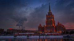 Iconic Architectural Excesses (Ilia Danilov) Tags: moscow seven sisters building buildings sunset water russia city cityscape flickr dusk night twilight travel