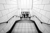 Lines and angles - Mile End Station (Luke Agbaimoni (last rounds)) Tags: londonunderground london londontube perspective blackandwhite monochrome underground londo
