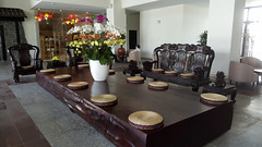 Solid slab (Roving I) Tags: tables wood timber carvedchairs decor foyers flowers lanterns resorts tourism travel lifestyle luxury grandvrio danang vietnam