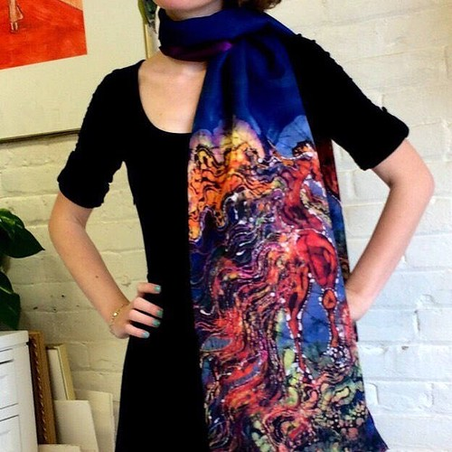 Excited to share the latest addition to my #etsy shop: Horse - Catch the Wind - Silky faille scarf or shawl - women's fashion - from original batik - https://etsy.me/2H0nhvT #batik #horseshawl #horsescarf #clouds #artscarf #horselover #gift #amityfarmbati