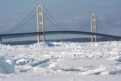 The Mackinac Bridge (U.S. Fish and Wildlife Service - Midwest Region) Tags: mackinacbridge greatlakes mackinawcity michigan winter ice 2018 lakehuron lakemichigan seasons spring frozen cold march mi snow weather