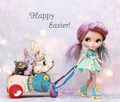 Nom Nom Easter! (pure_embers) Tags: pure embers blythe doll dolls custom angellily pureembersbluebell bluebell neo uk girl pretty pureembers photography kenner purple lilac hair easter cute bunny cart furry friends roller skates cupcakecurio dress