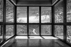 Overlook (JCTopping) Tags: glass 19mm river trees mountains newrivergorge 6d canon blackandwhite gorge windows lansing westvirginia unitedstates us