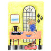 Breakfast and Basset Hounds (onlaneave) Tags: illustrator artist artwork illustration still life basset hound dog puppy table window vase black white stripes pink blue green chartreuse fruit bowl place setting orange juice coffee french vintage antique pattern floral arched bed chair furniture
