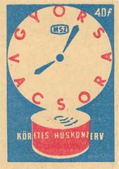 hungarian matchbox label (maraid) Tags: hungarian hungary matchboxlabel packaging food fruit clock tin time