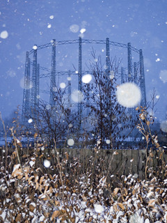 Gasometer in the snow