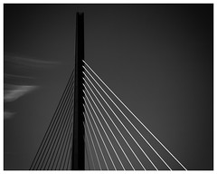 Millau Viaduct 2 (AEChown (away now)) Tags: viaduct bridge millauviaduct millau france blackandwhite black monochrome mono architecture clouds minimalist minimalism abstract graphic lines millaubridge sky blacksky