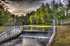 Waterways (Pearce Levrais Photography) Tags: dam water waterfall pond lake forest tree fence canon 7d markii hdr sky cloud landscape outside outdoor nature