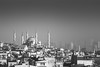 Istanbul mornings (The Frustrated Photog (Anthony) ADPphotography) Tags: architecture category citiestowns external istanbul places travel turkey cityscape skyline houses buildings residential skyscrapers thebluemosque mosque placeofworship roof dome minarets haze mono monochrome blackandwhite whiteandblack bw outdoor tamron70300 canon70d canon travelphotography sultanahmetmosque city sky
