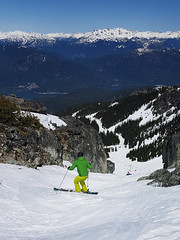 Spring conditions on Pakololo (Ruth and Dave) Tags: andrew skier whistler whistlerblackcomb blackcomb blackcombmountain pakololo alpine spring skiing skiresort slush weather cornsnow rocks slope doubleblack chute lovely1