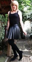 Wider Pleats (Amber :-)) Tags: black leatherette sunray pleated skirt tgirl transvestite crossdressing