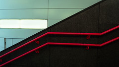 Red (Mona_Oslo) Tags: urbanarchitecture barcode red light stairs oslo oslofjorden color monajohansson redlines