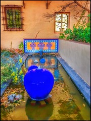 Blue fountain beauty.... (Sherrianne100) Tags: laposadainn southwest patio fountain winslowarizona arizona