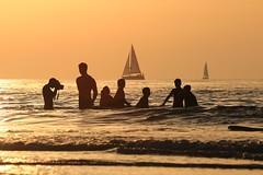 Bathing & sailing - Tel-Aviv beach - Follow me on Instagram:  @lior_leibler22 (Lior. L) Tags: bathingsailingtelavivbeach bathing sailing telaviv beach people sailboats photography silhouettes sea telavivbeach israel