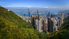 Hong Kong Panorama II (fredrik.gattan) Tags: hong kong hongkong china skyline skyscrapers city metropol cityscape landscape seascape view victoria peak forest town buildings architecture mountains horison sky clouds sunny day panorama
