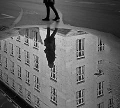 streetpuddleshot (heinzkren) Tags: artnouveau puddle schwarzweis blackandwhite monochrome bw sw street streetphotography postsparkasse wien vienna canon powershot lacke pfütze reflection spiegelung spiegelbild building gebäude architektur architecture jugendstil