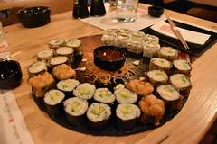 DSC_0931 (mikebsnaps) Tags: sushi ebi maki roll california inside out athens greece glyfada kazoku table for two dinner chopsticks soy sauce water sweet chili mayonaise avocado nikon d5500