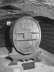 Oak cask given by Napoleon in cellar of Moet et Chandon (bvi4092) Tags: france general nikon sigma inside bw photoshop reims interior d300s travel 18250mm barrel architecture building cellar blackandwhite city europe excursion holiday indoor outing trip