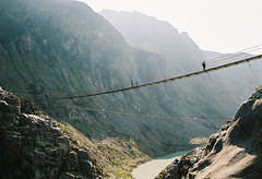 (DawnChapman) Tags: 35mm analog film fuji fujifilm fujicolorc200 c200 landscape mountains autumn switzerland trail hike hiking mountainside alpine travel lake river bridge trift suspensionbridge swissalps triftbridge