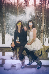 Smokey Forest (Luv Duck - Thanks for 12M Views!) Tags: select alliah sydney masks mardigrasmask winterinalaska winterfun alaskangirls beautifulgirls modeling photoshoot fog mysterious
