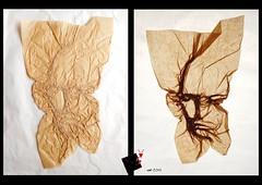 Backlight A (-sebl-) Tags: sebl origami crumpling backlight face portrait light paper kraft alios