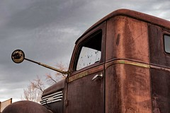 Wide Load (garshna) Tags: diamondt truck sky clouds mirror broken decayed rusty abandoned