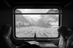 passing by (philippm86) Tags: train travel italy südtirol mountain railway time view out jurney fuji 14mm 21mm fujifilm xt2 gösser biew long calm bw monocrome