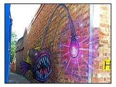 STREET ART by IRONY (StockCarPete) Tags: irony streetart londonstreetart urbanart graffiti deepseaanglerfish fish alleyway penge pengeart london uk
