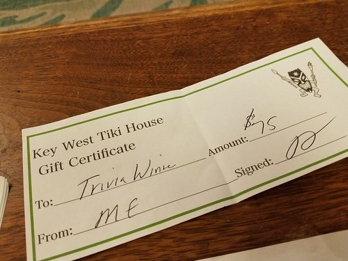 Matt and I played trivia on our own at Mary Ellen's and won. That never happens!