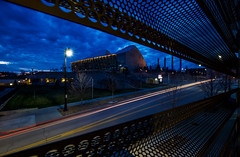 """Bring on the Night (KC Mike Day) Tags: """"kauffman center for performing arts """"bartle hall pylons station sky kcmo evening storms clouds blue"""