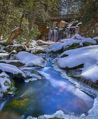 Snow at blackwater falls (Valley Imagery) Tags: blackwater falls west virginia snow ice waterfall bridge park spring cold sony a99ii tamron 1530