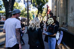 Exposing Truth (VeganVixen (Mel Mel)) Tags: anonymous voiceless animal rights v vendetta guy fawkes truth vegan veganism oppression injustice slaughterhouse justice activism activists people street edmonton alberta city urban outside outdoor mask masks sign signs footage protest protesting event public