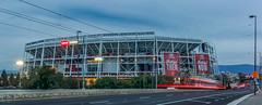 faithful then, faithful now (pbo31) Tags: bayarea california southbay santaclaracounty nikon d810 color april spring 2018 boury pbo31 lightstream traffic roadway motion contemporary architecture santaclara infinity panoramic large stitched panorama levis stadium 49ers football sport nfl sanfrancisco blue