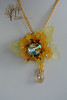 Yellow flower_2 (~Gilven~) Tags: foggyforest flowers luciteflowers jewelry neckjewellry jewellry broch broche bead beads beading beadembroidery pendant naturalleather