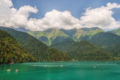 August on Lake Ritsa (skboris) Tags: abkhazia august caucasus clouds lake landscape mountains recreation ritsa travel