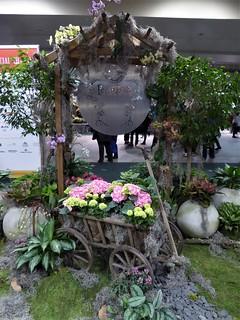 Chicago, Navy Pier, Chicago Flower & Garden Show, Garden Scene with Wagon