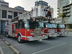North Vancouver City, BC Ladder 10, Engine 10 and Engine 9 (2) (walneylad) Tags: northvancouvercity britishcolumbia canada firedepartment firerescue fireservice firebrigade pompiers bomberos bombeiros emergencyvehicle firevehicle rescuevehicle fireapparatus fireappliance pumper pumpladder aerialplatform towerladder laddertower laddertruck aerialladder alp ladder10 engine9 engine10 eone cyclone pierce arrow xt red black