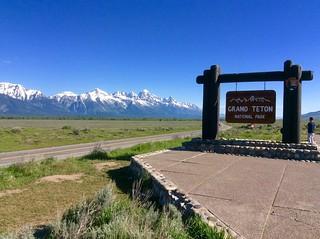 Grand Teton National Park Sign on US-191 in Jackson Hole, Wyoming