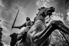 New Sword (MikeSpeaks) Tags: joanofarc washingtondc blackandwhite sword joandarc sculpture statue zeissbatis25mmf20