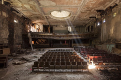 light from above. (explored) (stevenbley) Tags: urbanexploration urbanexploring urbex urban historic movietheater theater theatre newyork york ny canon5dmarkii 5dmk2 seats curtains riots city mold rust mildew history decay
